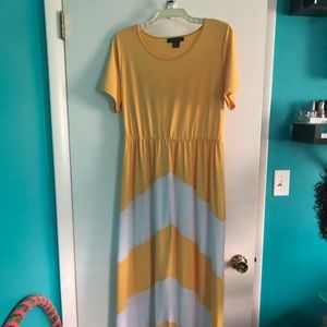 Yellow and white color block dress